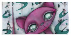 Jane Cat Beach Towel by Abril Andrade Griffith