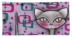 Janice Cat Beach Towel by Abril Andrade Griffith