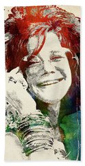 Janis Joplin Portrait Beach Towel