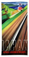 Japan, Japanese Railways, Travel Poster Beach Towel