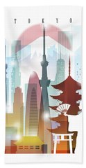 Japan Tokyo 2 Beach Towel by Unique Drawing