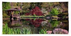 Beach Towel featuring the photograph Japanese Garden At Maymont by Rick Berk