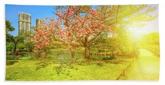 Japanese Garden Cherry Blossom Beach Towel