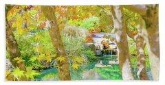 Japanese Garden Pond Beach Towel