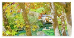Japanese Garden Pond Beach Towel