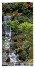 Japanese Garden Waterfall Beach Sheet by Sandra Bronstein