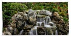 Japanese Garden Waterfalls Beach Towel