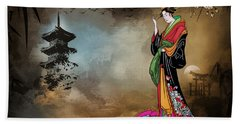 Japanese Girl With A Landscape In The Background. Beach Towel by Andrzej Szczerski