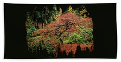 Beach Towel featuring the photograph Japanese Maple At The Japanese Gardens Portland by Thom Zehrfeld