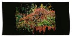 Japanese Maple At The Japanese Gardens Portland Beach Towel by Thom Zehrfeld