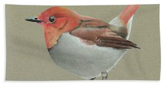 Beach Towel featuring the drawing Japanese Robin by Gary Stamp