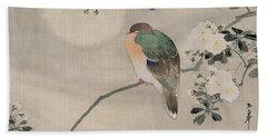 Japanese Silk Painting Of A Wood Pigeon Beach Towel by Japanese School
