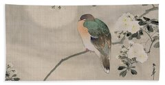Japanese Silk Painting Of A Wood Pigeon Beach Sheet by Japanese School