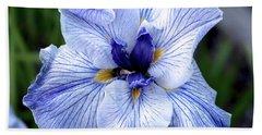 Japanese Water Iris In Blue 2695 H_3 Beach Sheet