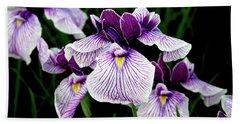 Japanese Water Iris In Purple 2714 H_2 Beach Sheet