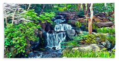 Japanese Waterfall Garden Beach Sheet