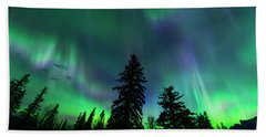 Beach Towel featuring the photograph Jasper National Park Aurora by Dan Jurak