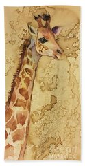 Beach Towel featuring the painting Java Giraffe by Christy Freeman