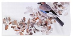 Jay On A Dried Oak Branch Beach Towel
