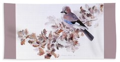 Jay On A Dried Oak Branch Beach Sheet
