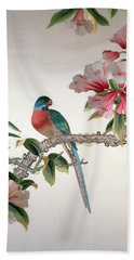 Jay On A Flowering Branch Beach Towel by Chinese School