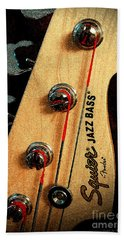 Jazz Bass Headstock Beach Towel
