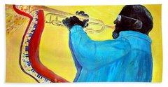 Jazzy Trumpet Player Beach Towel