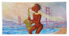 Beach Sheet featuring the painting Jazz San Francisco by Xueling Zou