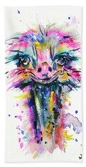 Beach Towel featuring the painting Jazzzy Ostrich by Zaira Dzhaubaeva