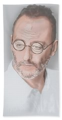 Beach Towel featuring the mixed media Jean Reno by TortureLord Art