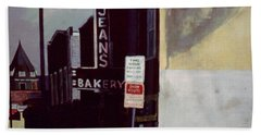 Beach Towel featuring the painting Jean's Bakery by William Brody