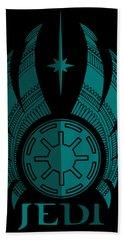 Jedi Symbol - Star Wars Art, Blue Beach Towel