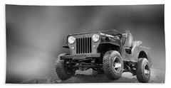 Beach Sheet featuring the photograph Jeep Bw by Charuhas Images