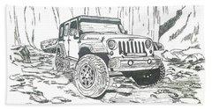 Jeep Rubicon Gel Pen Sketch Beach Towel