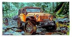 Jeep Rubicon Watercolor Beach Towel