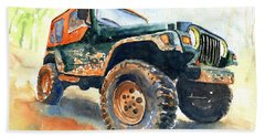 Jeep Wrangler Watercolor Beach Towel