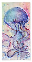 Jelly Fish Watercolor Beach Towel