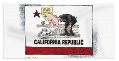 Jerry Brown - California Drought And High Speed Rail Beach Towel