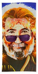 Beach Towel featuring the painting Jerry Garcia-dark Star by Joshua Morton