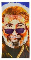 Beach Sheet featuring the painting Jerry Garcia-dark Star by Joshua Morton
