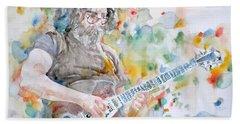 Jerry Garcia - Watercolor Portrait.15 Beach Towel