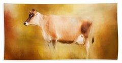Jersey Cow In Field Beach Towel
