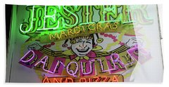 Beach Towel featuring the photograph Jester Mardi Gras Sign by Steven Spak