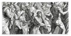 Jesus Carrying The Cross, Gospel Of Luke Beach Towel