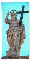 Jesus Christ Statue Beach Sheet