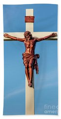 Jesus Crucifix Against The Sky 3 Beach Towel by Gary Whitton