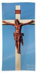 Jesus Crucifix Against The Sky 3 Beach Sheet by Gary Whitton