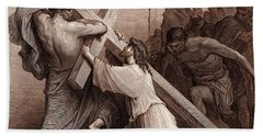 Jesus Falling Beneath The Cross Beach Towel