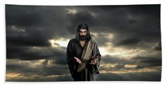 Jesus In The Clouds With Glory Beach Towel