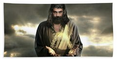 Jesus In The Clouds With Radiant Power Beach Towel